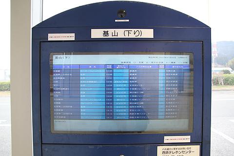 高速基山バス停 下り線 インフォメーション表示