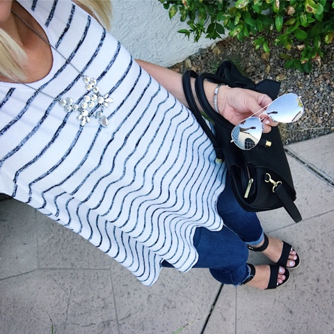Thritty Wife, Happy Life- Daily outfits. Stripe swing tank top with jeans and wedge sandals