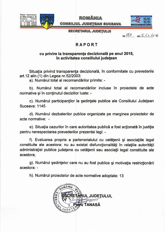 Raport cu privire la transparența decizională pe anul 2015 în activitatea Consiliului Județean Suceava