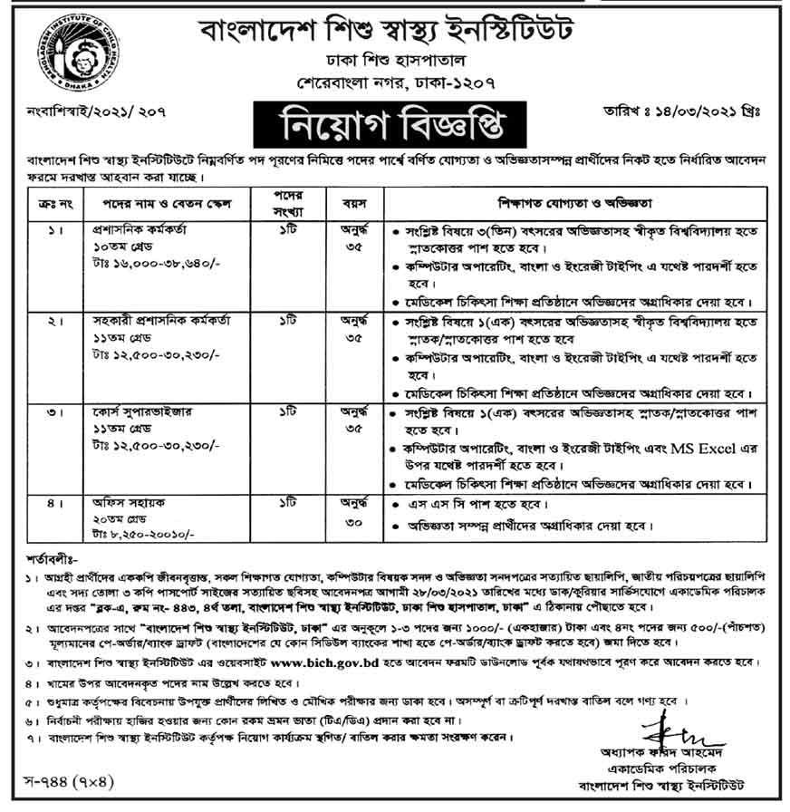 Dhaka Shishu Hospital Job Circular 2021 - ঢাকা শিশু হাসপাতাল নিয়োগ বিজ্ঞপ্তি ২০২১ - মেডিকেল কলেজের চাকরির খবর ২০২১