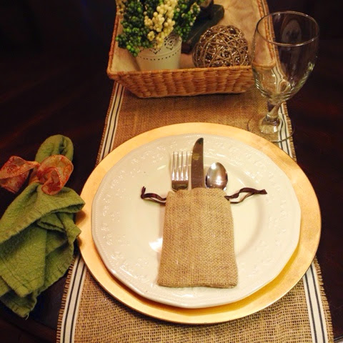 burlap drawstring bags in tablescape