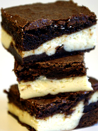 three chocolate and Bailey's Irish cream brownies stacked vertically