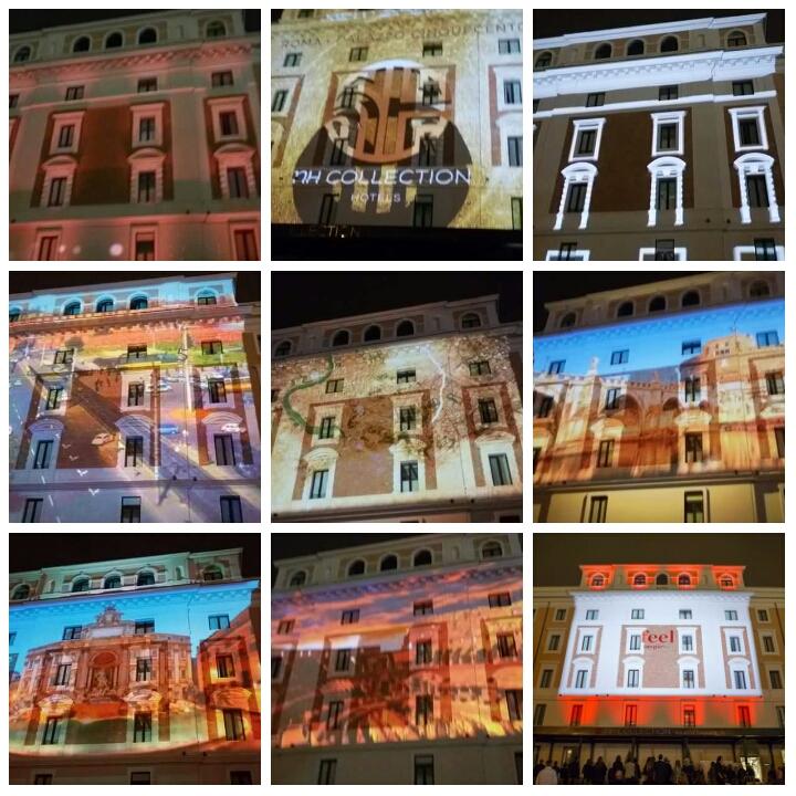 luci e suoni sulla facciata dell'NH Collection Palazzo Cinquecento Roma Termini