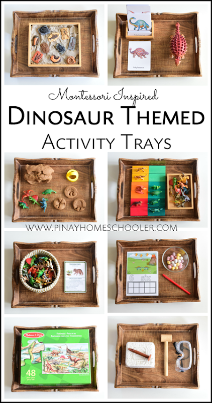 Montessori Inspired Dinosaur Activity Trays for Preschoolers