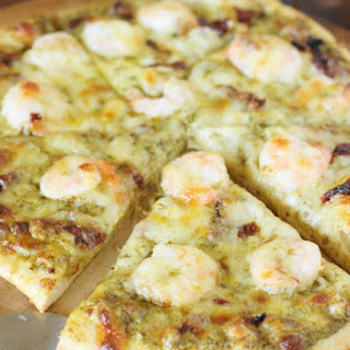 Shrimp & Pesto Pizza with Sun-Dried Tomatoes (Printable recipe)