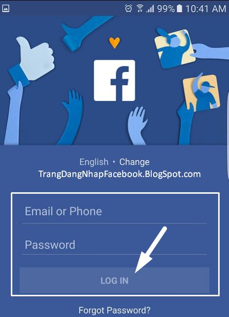 Điền tài khoản và mật khẩu Facebook để đăng nhập