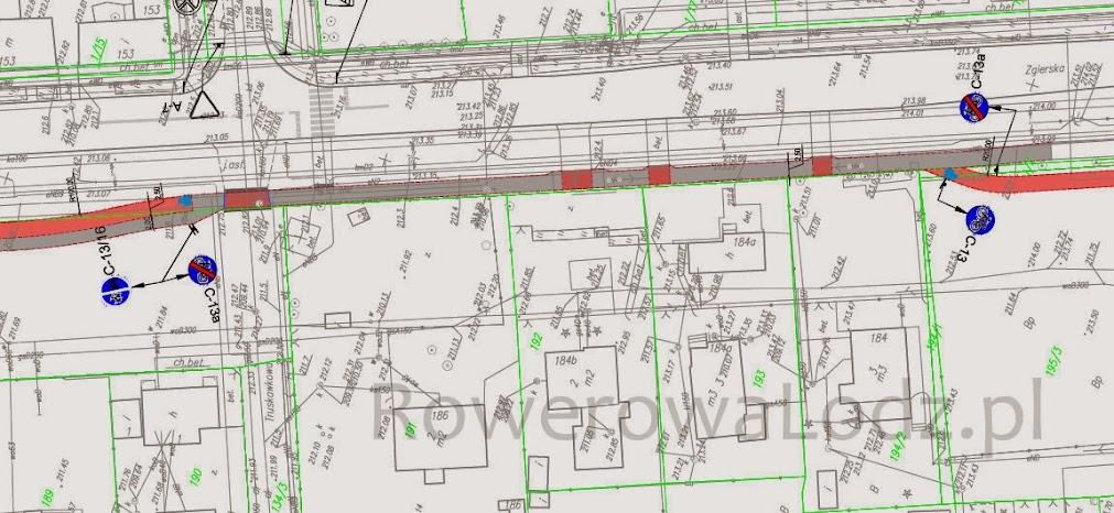 Dopiero na projekcie wykonawczym widać, co zaplanowano! Znaki jasno pokazują, gdzie zaplanowano zakończenie drogi dla rowerów. Widać też, jaka będzie nawierzchnia - kolorem czerwonym jest oznaczony asfalt.