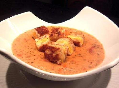 Tomato Parmesan Soup with Grilled Cheese Croutons
