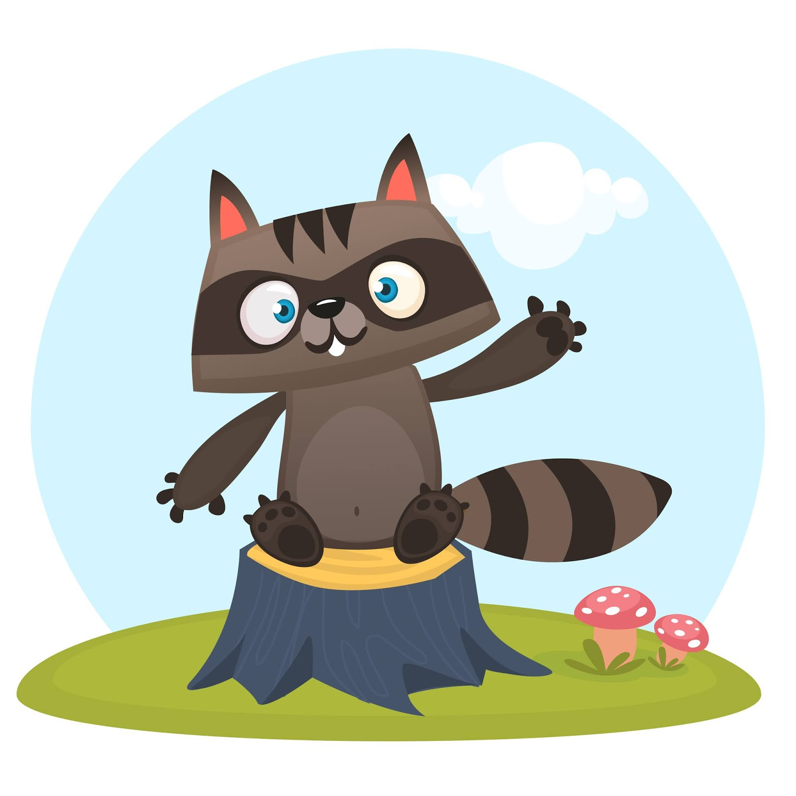 Cartoon Funny Raccoon Illustration Funny Free Download Vector CDR, AI, EPS and PNG Formats