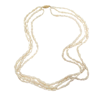 Freshwater Pearl and 14K Gold Triple Strand Necklace