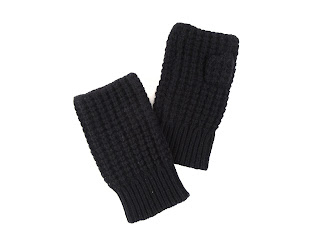 Vkoo Cashmere Fingerless Gloves, Black