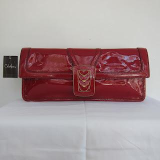 Cole Haan Claret Patent Leather Flap Clutch