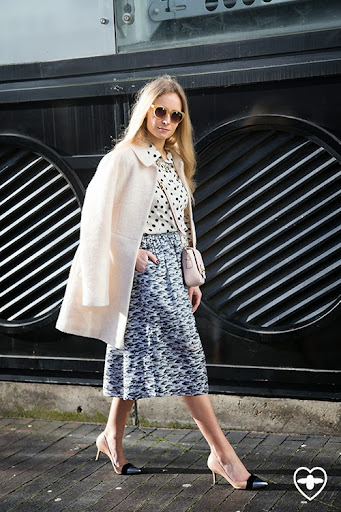 Martha Ward; stylist; Whistles shirt; Prada skirt; Topshop coat; Nicholas Kirkwood shoes; Tods bag; Made Well glasses;