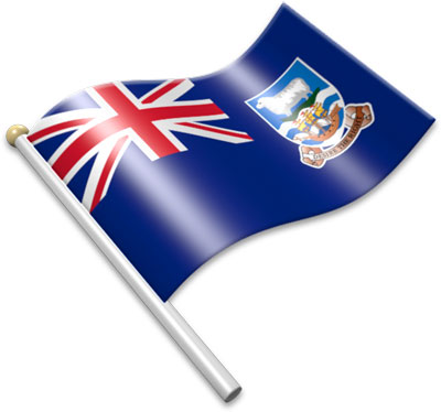 The Falkland Island  flag on a flagpole clipart image