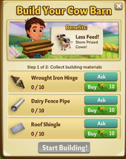 farmville 2 cow barn building requirement