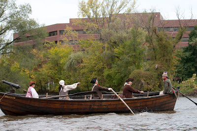 Passing University Plaza, RE-ENACTORS ON  BATTOE 'MOON' ON THE HACKENSACK RIVER. Photos by TOM HART/  FREELANCE PHOTOGRAPHER.