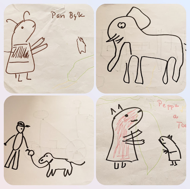 Koláž čtyř obrázků (Pan Býk, slon, pán se psem na vodítku, Prasátko Peppa a Tom)