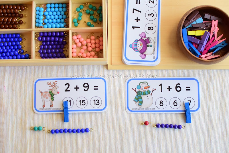 Addition Clipcards with Montessori Beads