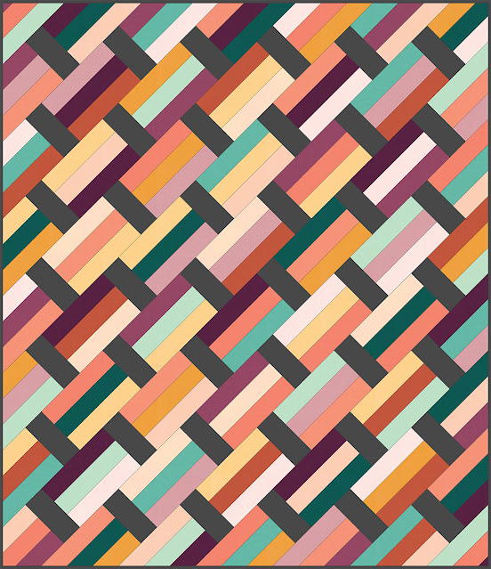 Modern version of the Fast Track quilt pattern made with Kona cotton solids - pattern by A Bright Corner