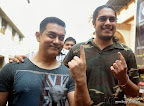 Indian bollywood actor Aamir Khan with son Juned  cast his vote at poling booth in Bandra. on24 April2014 PIC:SAYYED SAMEER ABEDI