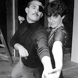 Duncan Morrison and Barbara Early in rehearsal for TRIXIE TRUE, TEEN DETECTIVE - August 1984.  Property of The Schenectady Civic Players Theater Archive.