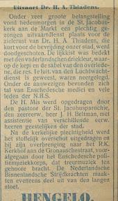 Verslag van de begrafenis van Dr. H.A. Thiadens - Het Parool April 1945