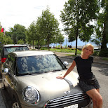 our ride, Mini Cooper in Lausanne in Gruyeres, Fribourg, Switzerland