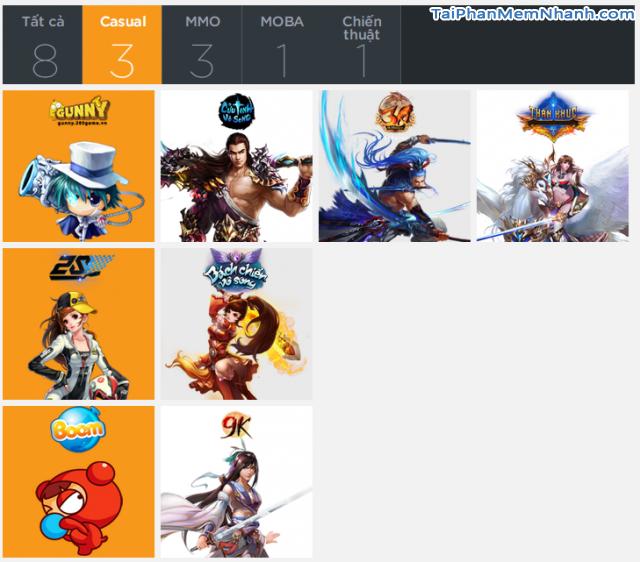Danh sách game chơi với 360Play client