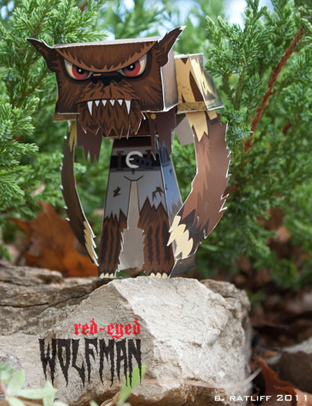 Red Eyed Wolf Man Paper Toy