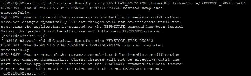 Update KEYSTORE_LOCATION KEYSTORE_TYPE DBM parameter