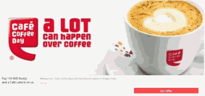 (Paused) Cafe Coffee Day - Get Cafe Latte + 92 Rs Bank Cash For Free