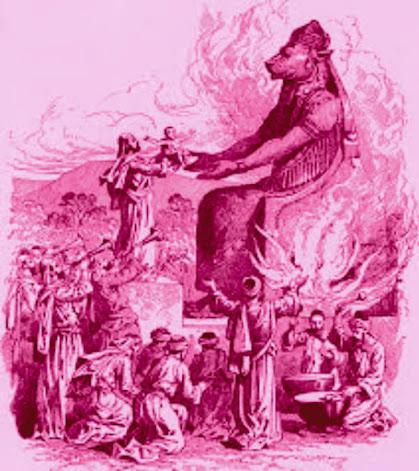 Homem entrega criança a moloc para sacrificio
