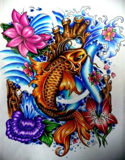 koi and water lilies tattoo design by Chantal at Iron Lotus Body