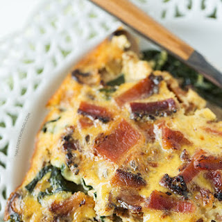 Crustless Bacon, Spinach, and Mushroom Quiche.