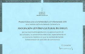 Premio Valenciano a la Solidaridad y el Voluntariado 2001 concedido por la Generalitat Valenciana.