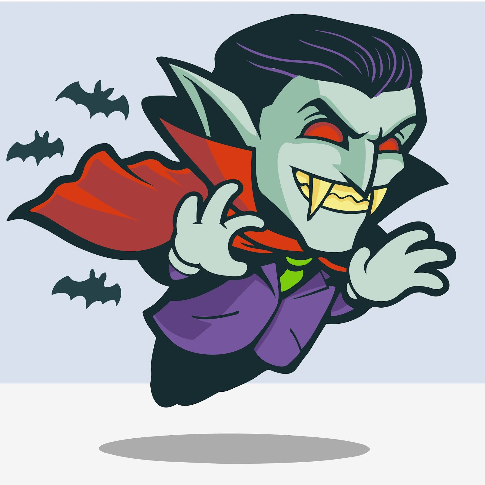 Cute Dracula Flying With Bats Free Download Vector CDR, AI, EPS and PNG Formats