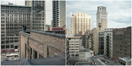 Photo: [The Rooftopper in Detroit] Check out a recent article in the Globe and Mail on Toronto's rooftoper aka 'badass' aka +Tom Ryaboi(see http://tinyurl.com/bveedpy). In this diptych, Toronto's badass went slumming on a roof in the Motor City.  Film: Kodak Portra 160 Shutter: 1/125 seconds Aperture: F/5.6 Camera: Rolleiflex 2.8D  #detroit #rooftopping #urbex  #urbanexploration  #diptych  #120film  #rolleiflex