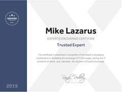 Mike Lazarus - Experts Exchange Trusted Expert
