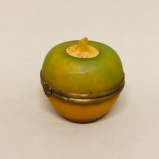 Limoges Signed Glass Apple Box