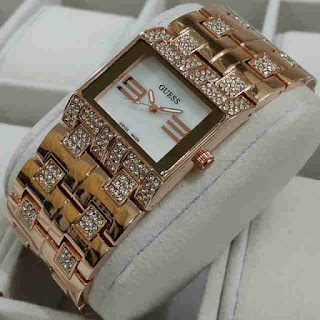 Jual jam tangan Guess rantai segi gold