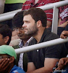 Mumbai : Congress Vice President Rahul Gandhi watching the batting of master blaster Sachin Tendulkar on Day 2 of the final Test match against West Indies at Wankhede Stadium in Mumbai on Friday. PTI Photo by Shashank Parade (PTI11_15_2013_000015B)