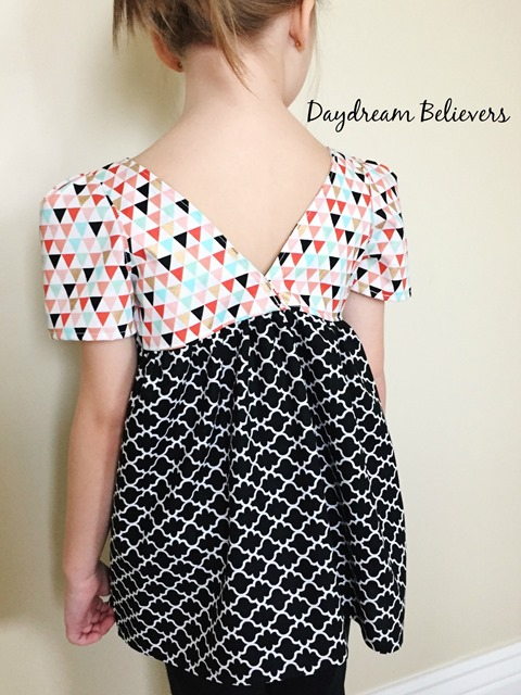 Modern Geometric black white coral mint gold top for girls by Daydream Believers Designs 3