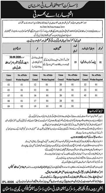 Polio Worker Jobs in Primary & Secondary Healthcare Department