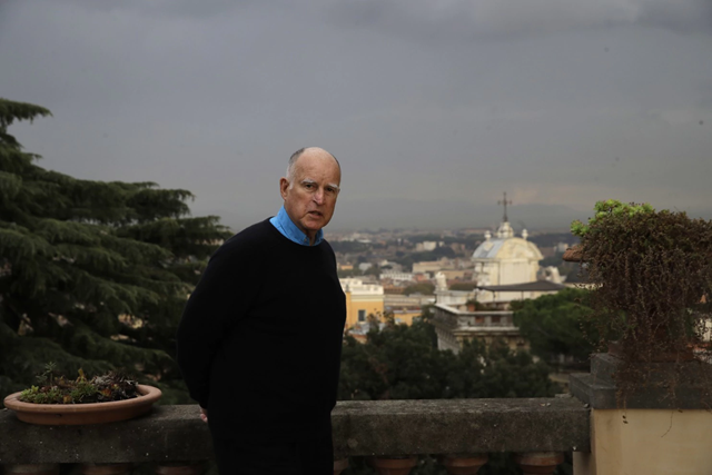 California Gov. Jerry Brown, in Rome before the Bonn climate meeting in November 2017, is one of the most prominent U.S. delegates. Photo: Alessandra Tarantino / AP Photo