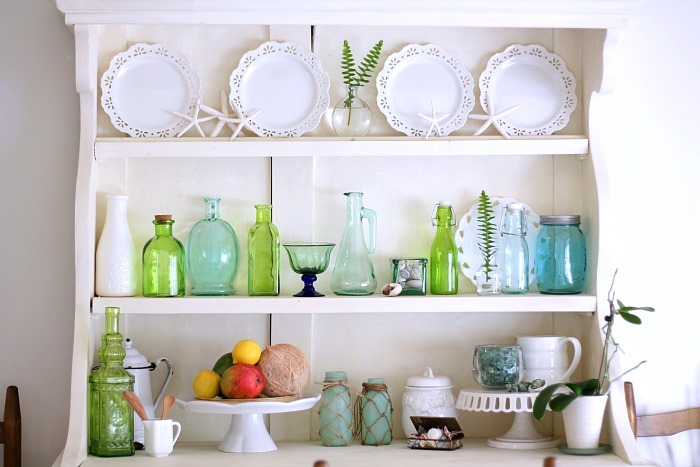 Green Glass Decor Hutch