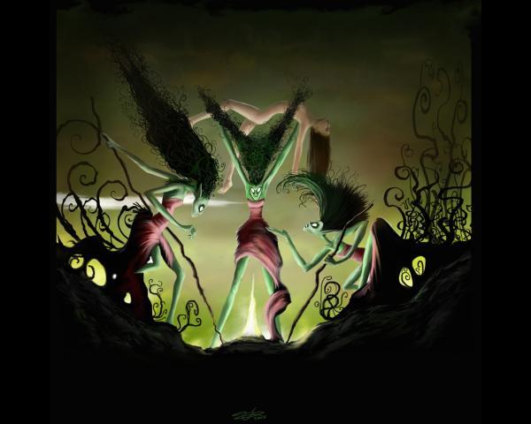 Three Green Witches On Sabbath, Fairies 2