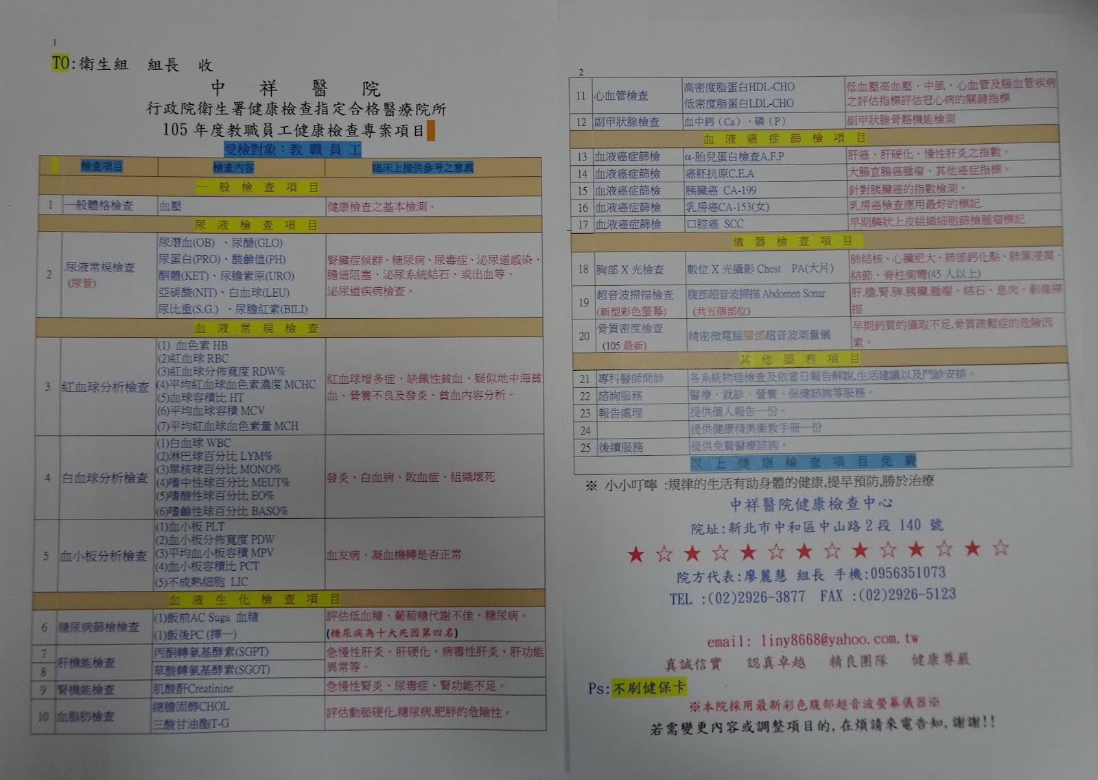 105 學年度教職員健康檢查意願調查 - 瑞豐國小健康促進學校