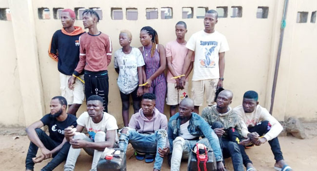 15 suspected robbers and cultists have been arrested by the Lagos .