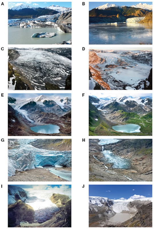 Time-lapse photo couplets of glaciers revealing retreat. (A–B) Mendenhall Glacier, Alaska, retreat of ~550 m from 2007 to 2015. (C–D) Solheimajokull, Iceland, retreat of ~625 m from 2007 to 2015. (E–F) Stein Glacier, Switzerland, retreat of ~550 m from 2006 to 2015. (G–H) Trift Glacier, Switzerland, retreat of ~1.17 km from 2006 to 2015. (I–J) Qori Kalis Glacier, an outlet of the Quelccaya Ice Cap, Peru, retreat of ~1.14 km from 1978 to 2016. Photo: James Balog / Extreme Ice Survey / Lonnie Thompson