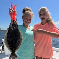 Abbie and Samantha with a nice Apalachicola Flounder 10-06-2018